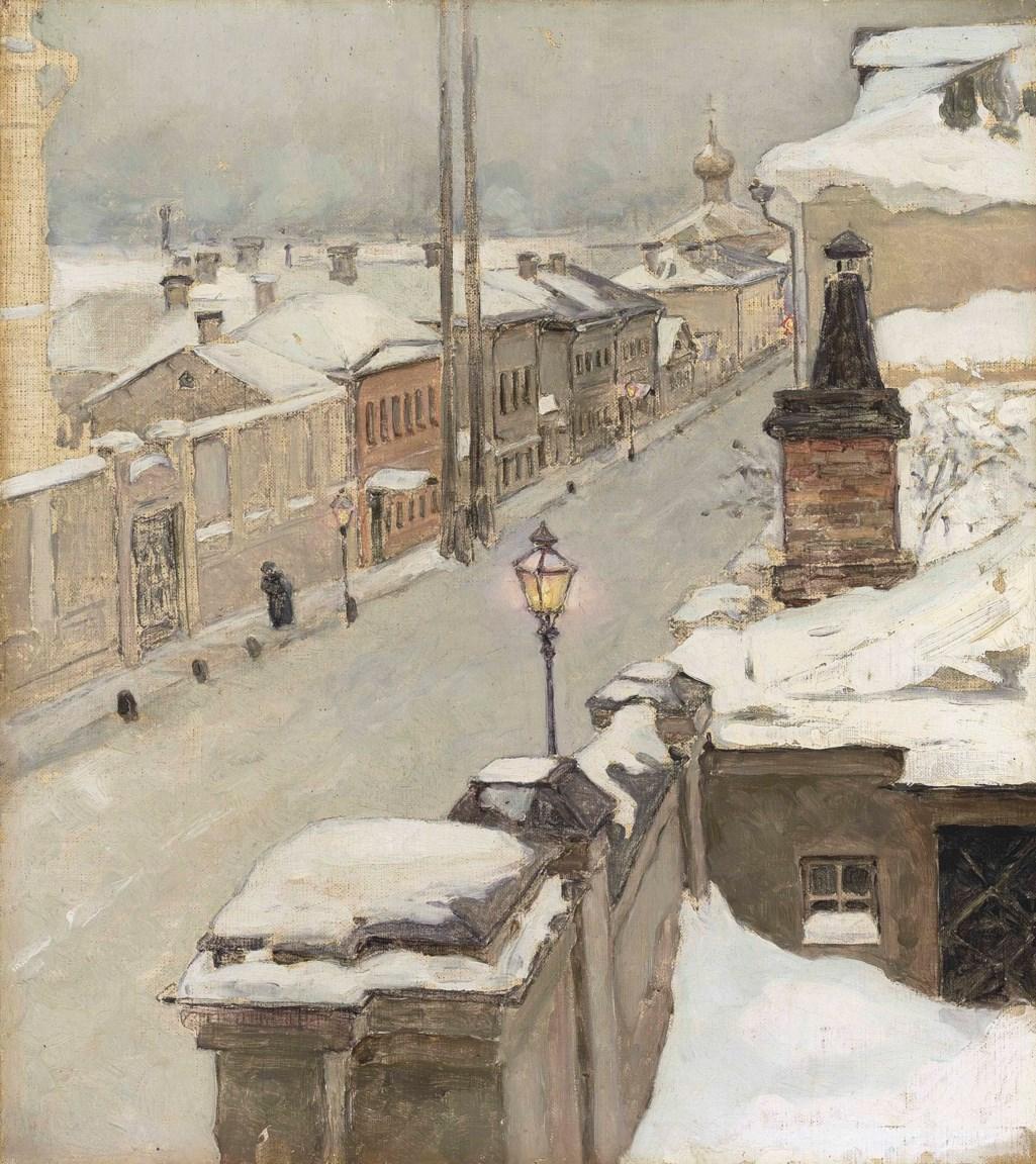Maria Iakunchikova (1870-1902) Moscow in winter. View from the window onto Srednaia Kislovka